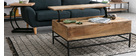 YPSTER mango wood and metal industrial adjustable coffee table 110cm