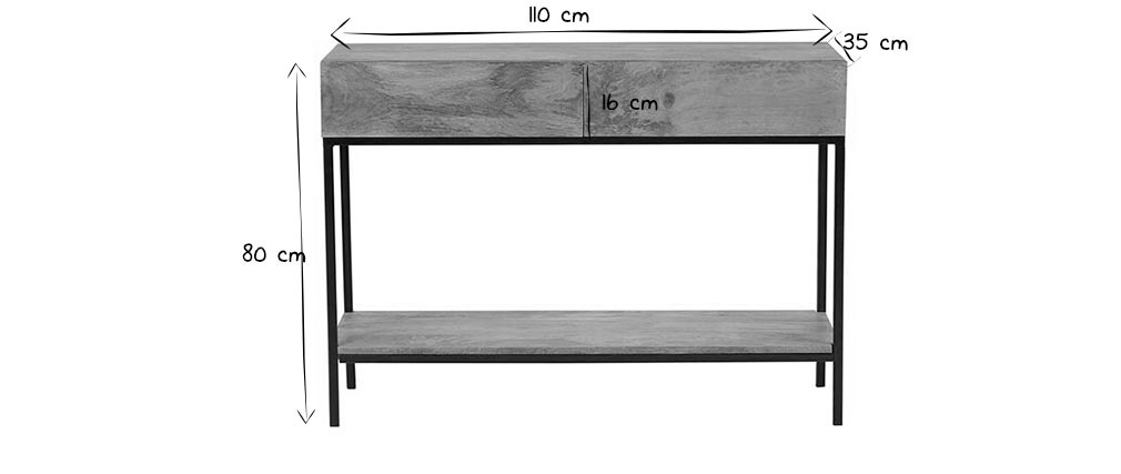 YPSTER mango wood and metal industrial console table 110cm