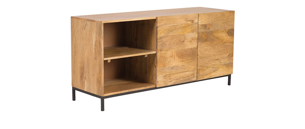 YPSTER mango wood and metal industrial sideboard