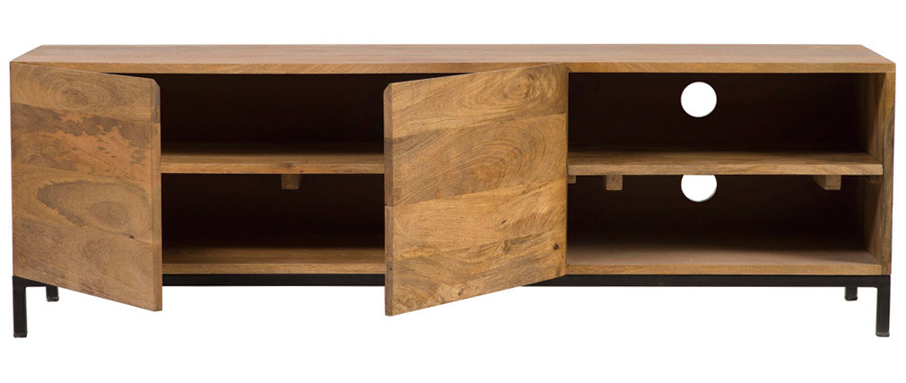 YPSTER mango wood and metal industrial TV stand