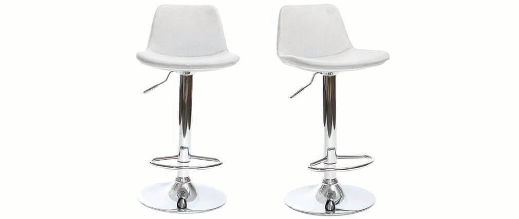 ZACK set of 2 light grey fabric designer bar stools