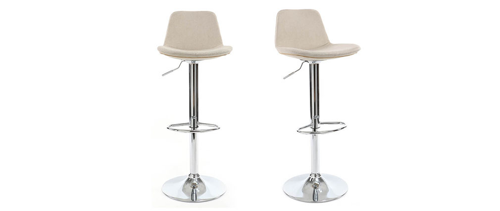 ZACK set of 2 natural fabric designer bar stools