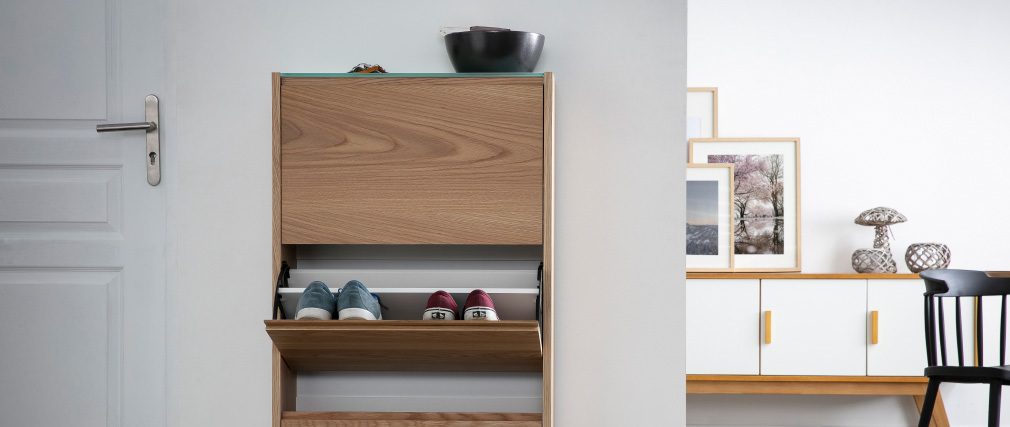 ZAPPA Scandinavian 3-compartment oak shoe storage unit