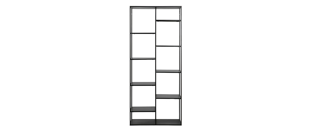 ZEPPELIN designer shelving unit in black metal